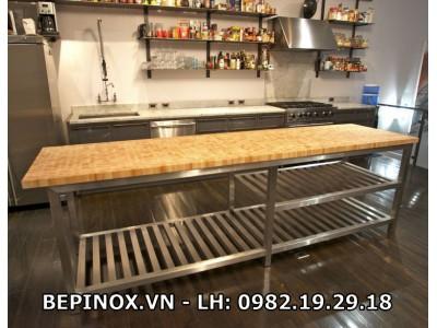 Bàn mặt gỗ giá Inox