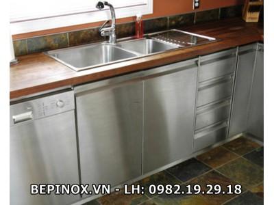 Tủ bếp Inox mặt đá